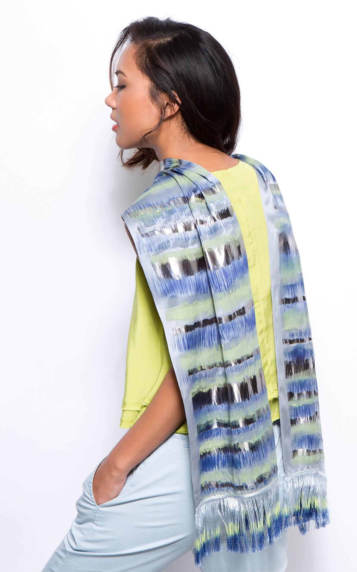 hand printed silk scarf. sample sale. elegant scarf. dikla levsky, hand painted silver scarf,