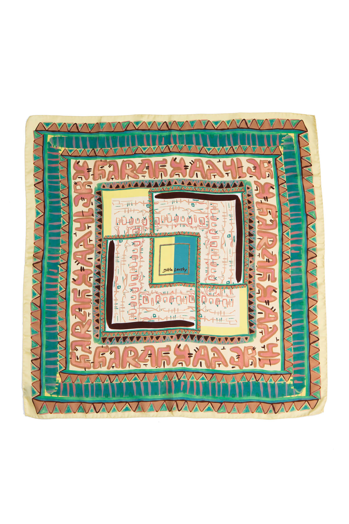 printed square scarf, silk scarf in teal and banana, Re-Phrase scarf by Dikla Levsky