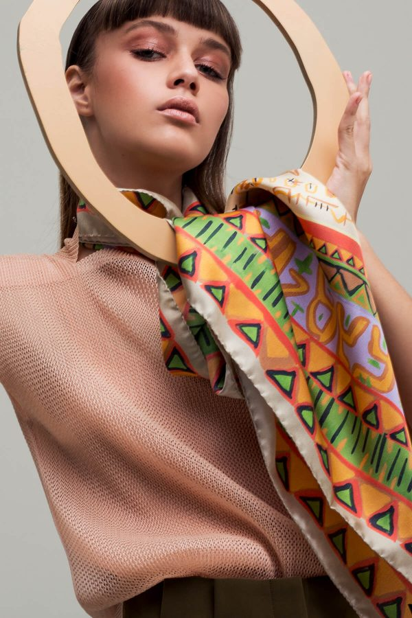 square scarf, silk scarf, printed silk scarf in orange and green, dikla levsky, made in italy