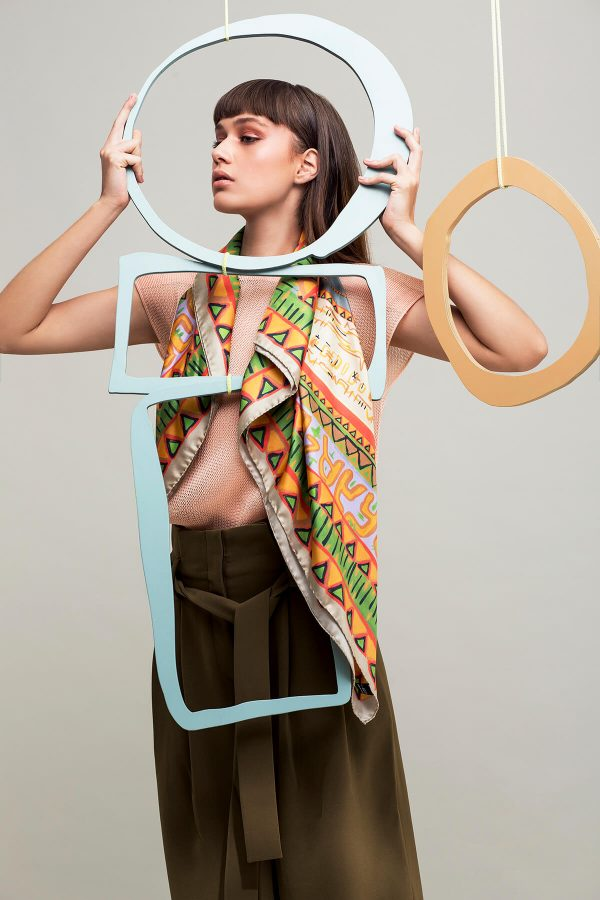 printed scarf, silk scarf, square twill silk scarf, foulard soie, dikla levsky, orange and green, made in italy