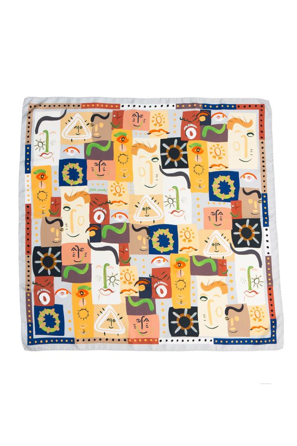 printed silk scarf, square twill scarf, whimsical print by dikla levsky