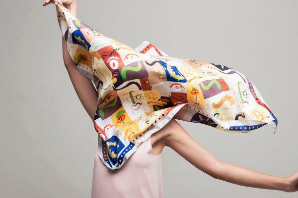 printed silk scarf, square whimsical printed twill scarf, foulard soie by dikla levsky