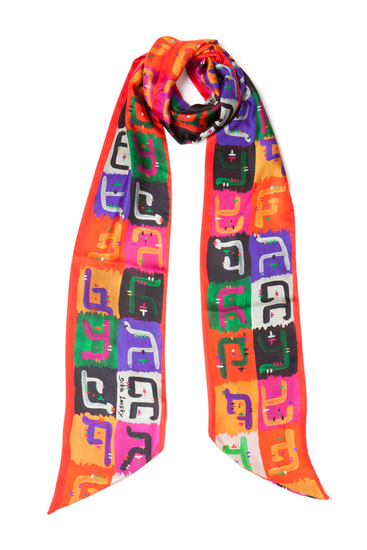extra long printed silk scarf, silk twilly, dikla levsky, fashion accessories, luxury scarf, scarf style, print and pattern, textile designer, fashion scarf, foulard soie, made in italy