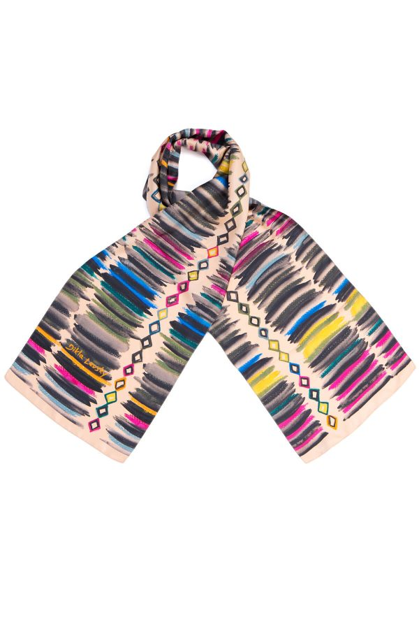 printed silk scarf, long twill scarf, made in italy, dikla levsky, stripes and diamonds scarf in powder