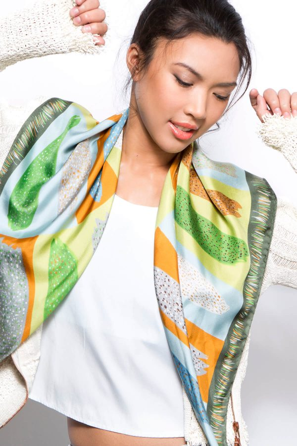 designer scarf by dikla levsky, printed silk square in green, ochre and light blue