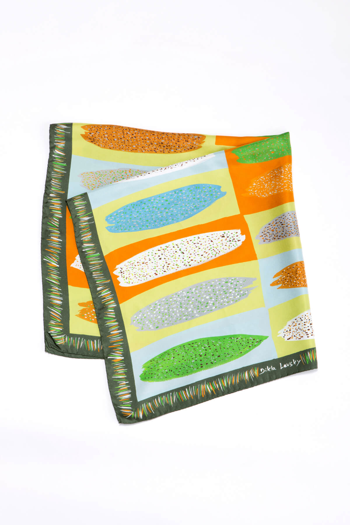 silk scarf by dikla levsky, printed twill silk square, green, ochre, light blue