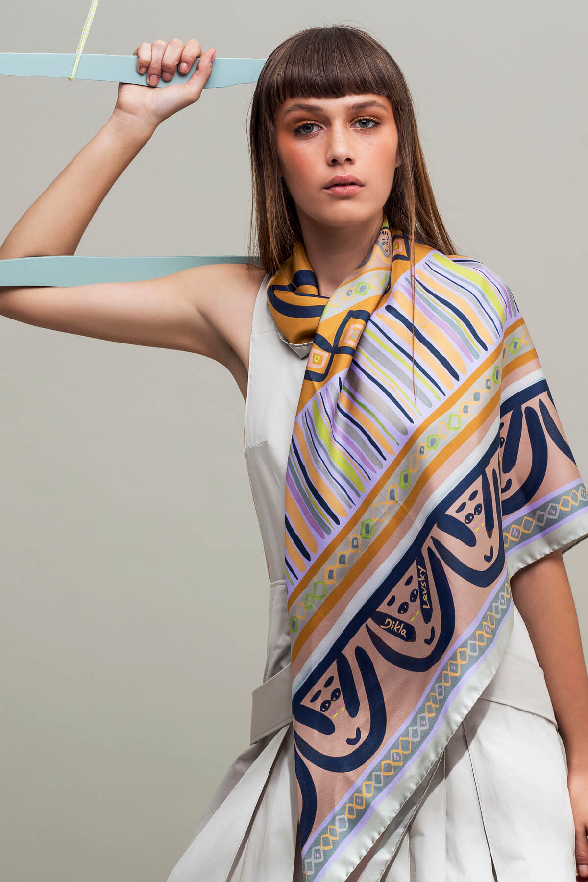 printed silk scarf, faces scarf by dikla levsky in lilac