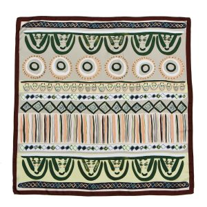 printed silk scarf in olive and grey, faces square twill scarf by dikla levsky