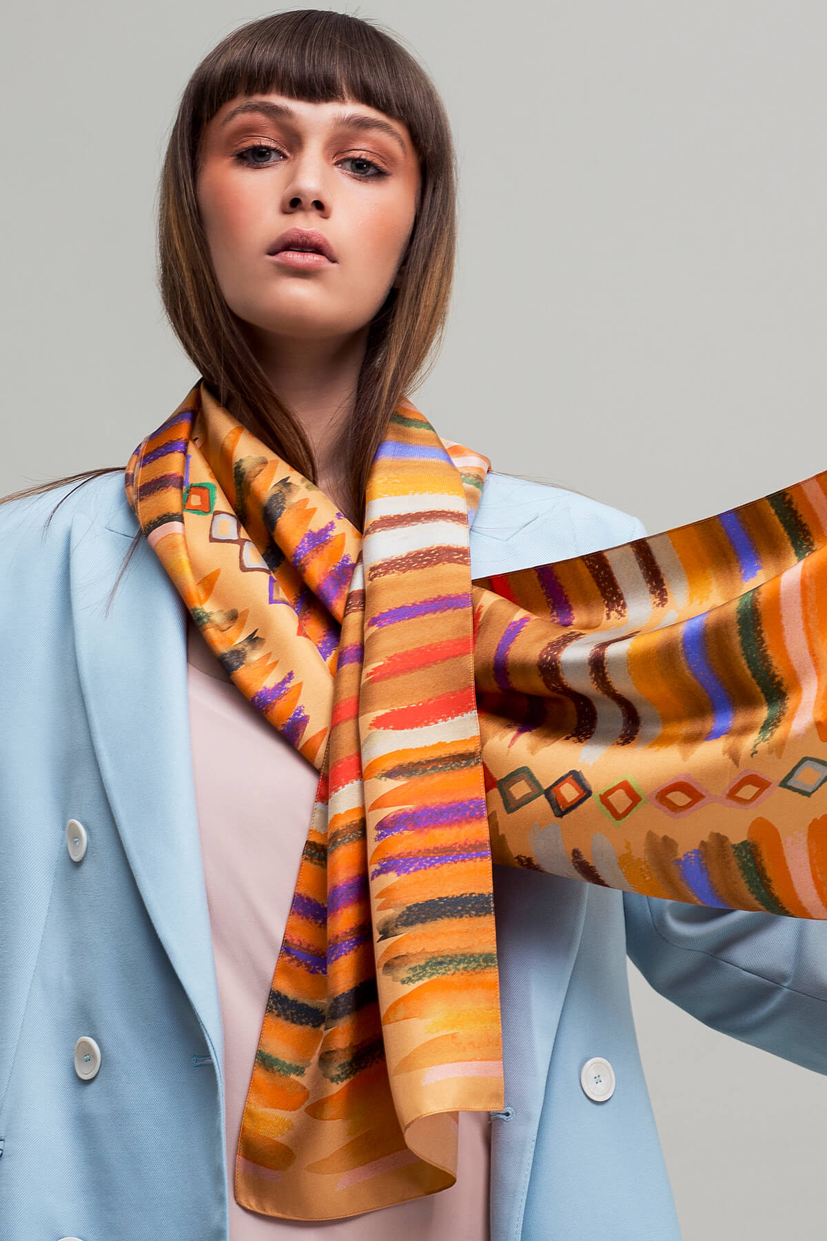 Diamonds and Stripes Custom Printed Silk Scarf in Orange | Dikla Levsky