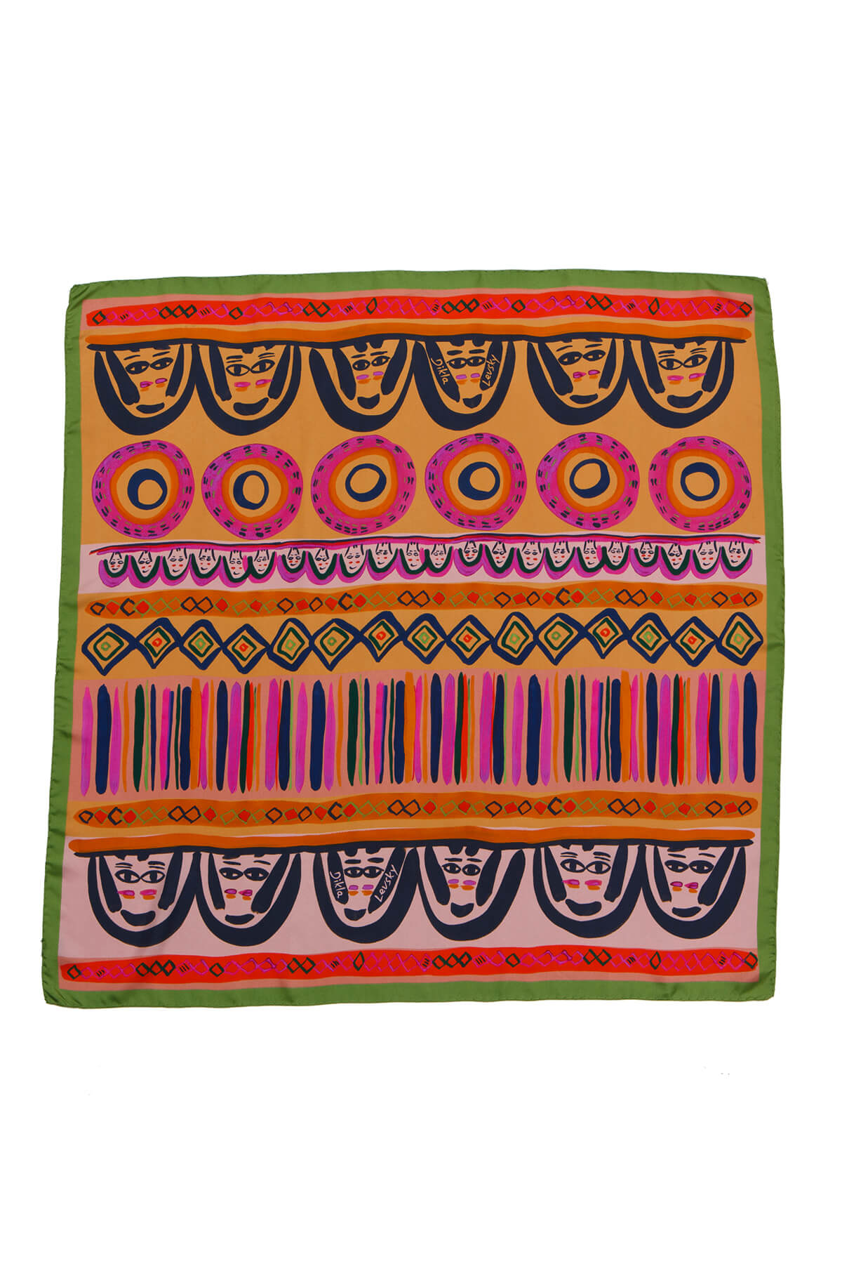 colorful square silk scarf by dikla levsky, faces printed scarf in ochre, pink,, green and rose