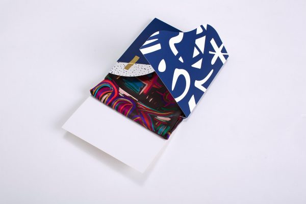 indigo and white silk scarf gift box by dikla levsky