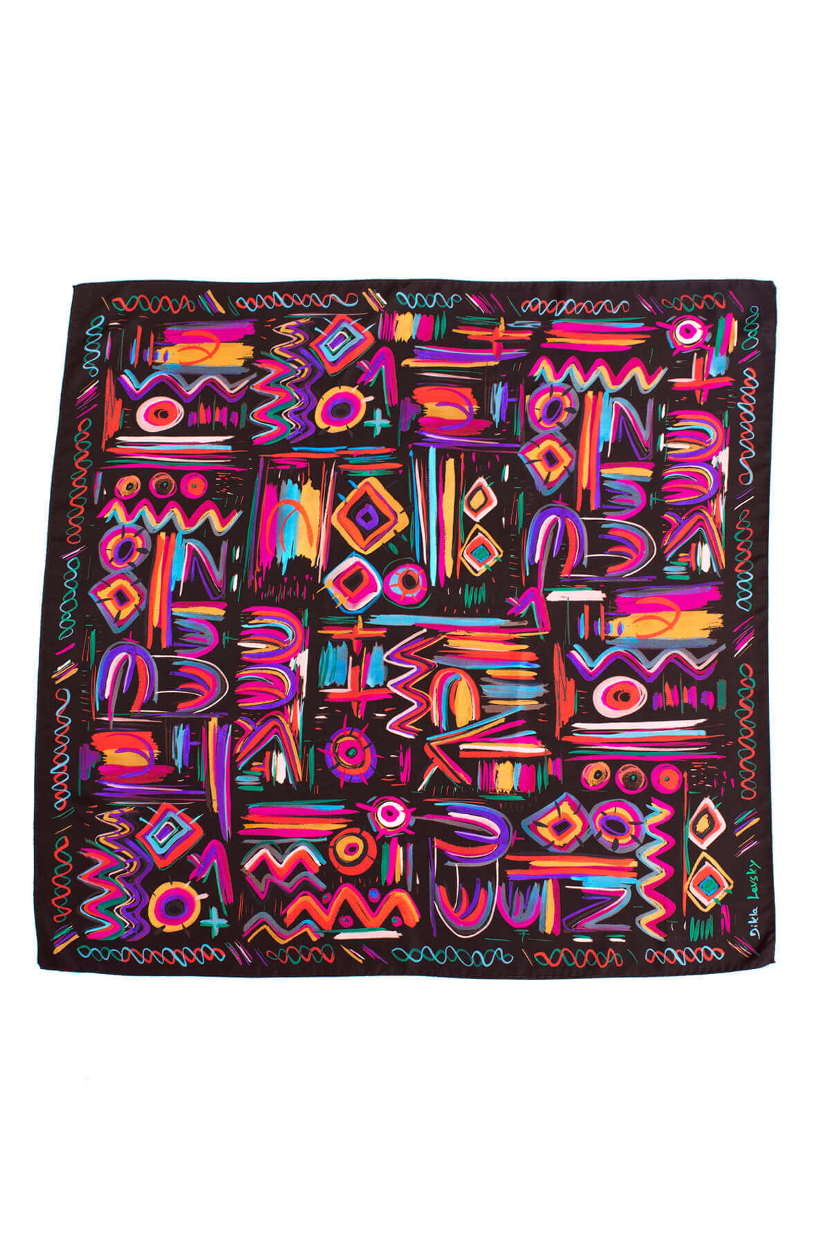printed silk scarf, colorful wthnic printed twill silk scarf by dikla levsky, chocolate scarf with pink and purple