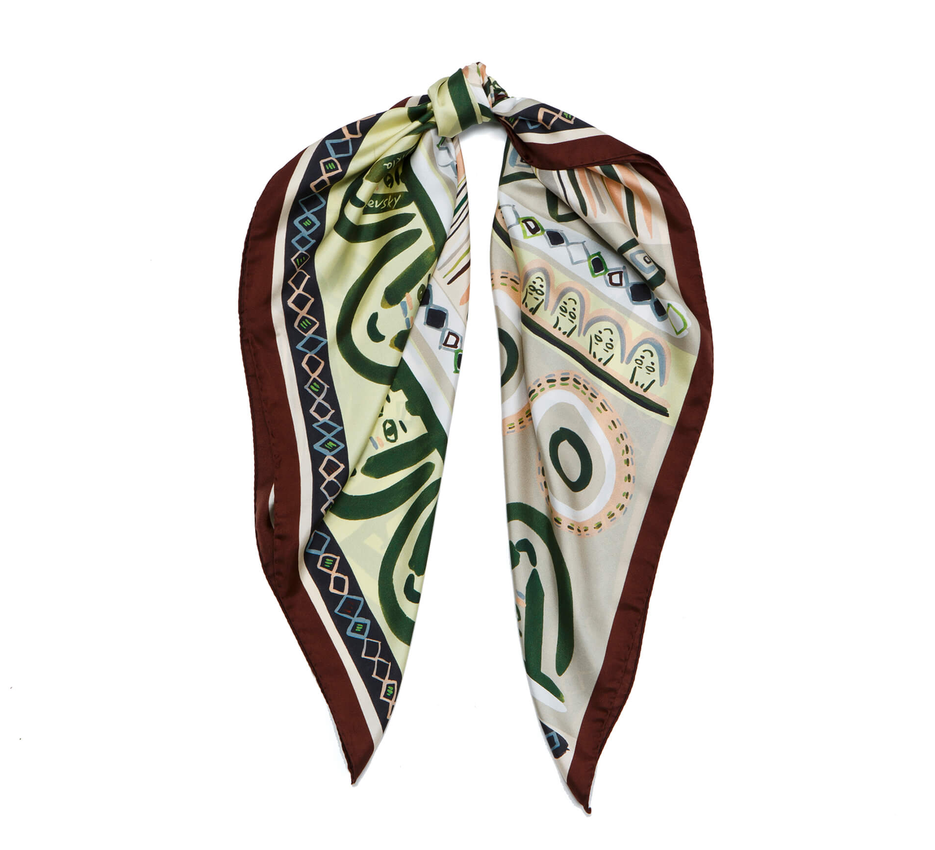printed silk scarf, olive and grey, faces foulard by dikla levsky