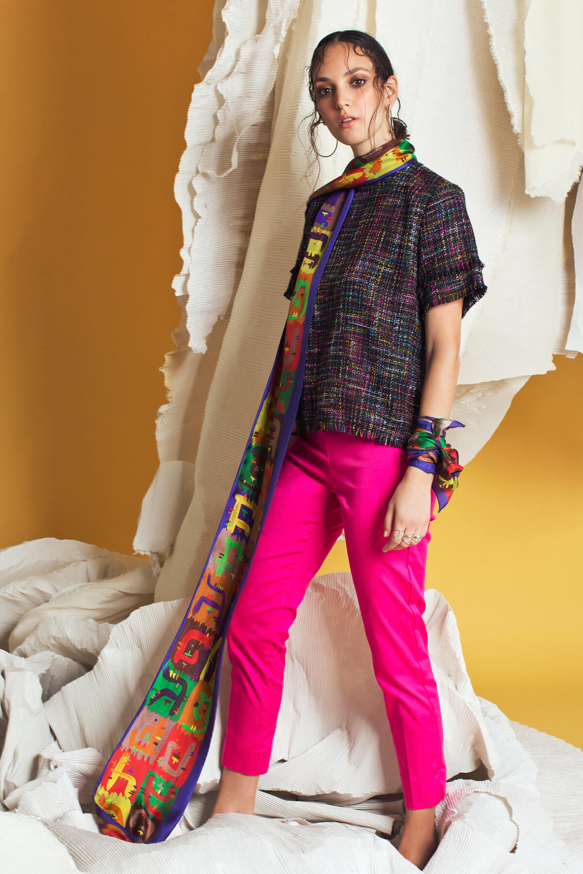 Silk Scarf; Printed scarf; Twilly scarf; Dikla Levsky; Luxury Scarves; Extra Long Silk Scarf; Foulard Soie; Made In Italy