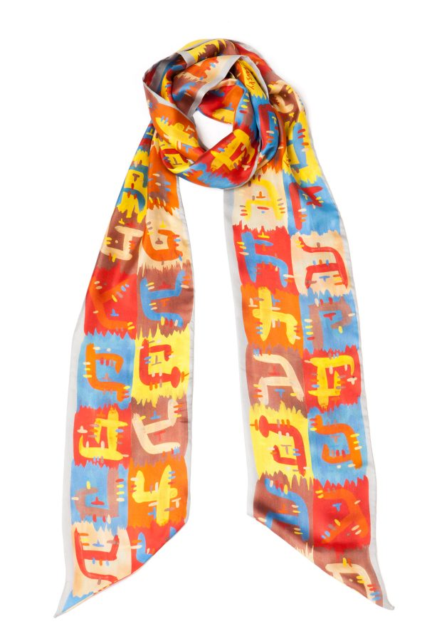 Silk Scarf; Dikla Levsky; Printed Scarf; Foulard Soie; Twilly scarf; Long Scarf; Made In Italy; Skinny Scarf; Luxury Accessories; Designer Scarf; Ethnic Scarf