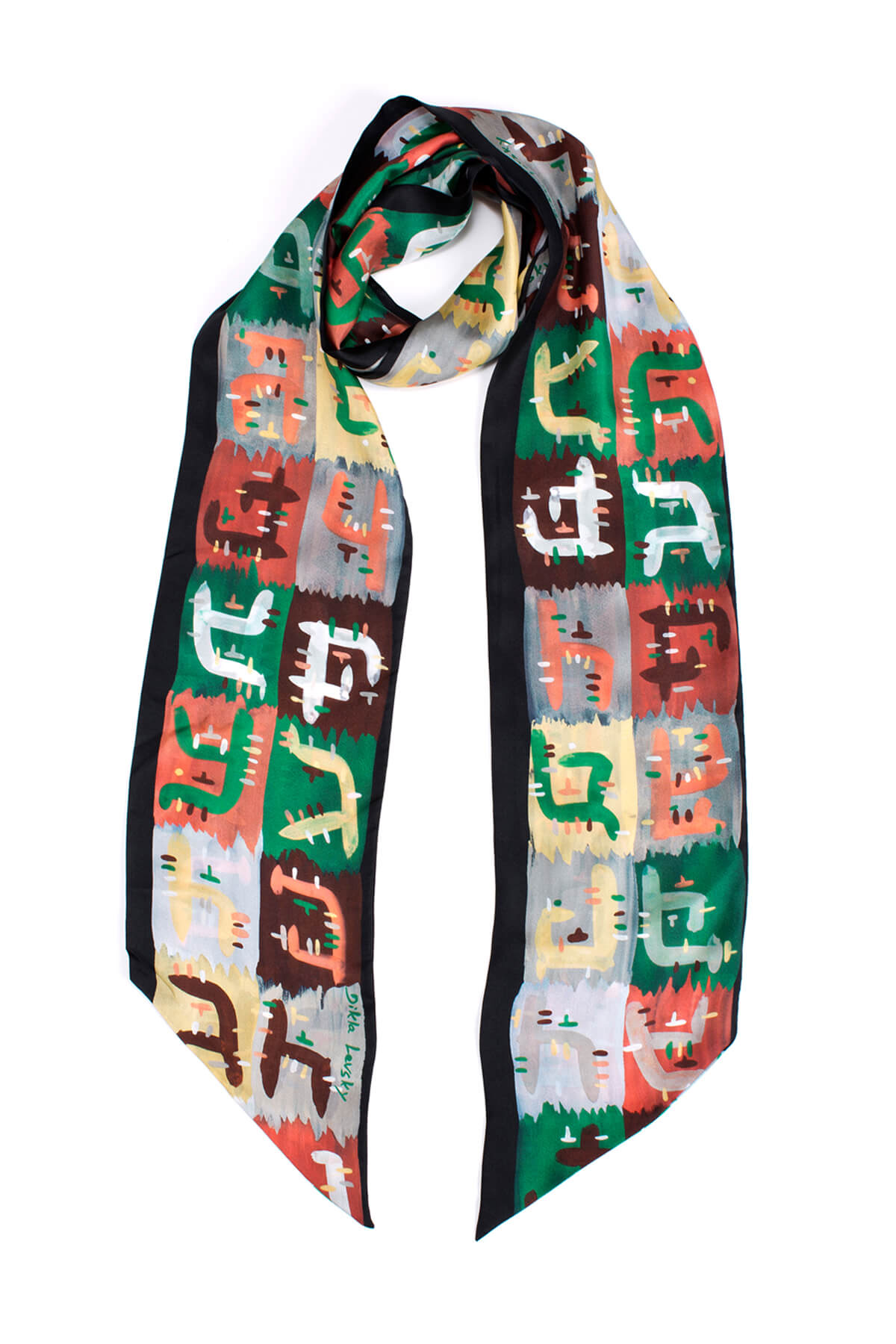 .printed scarf, skinny scarf, luxury accessories, silk twill scarf, extra long scarf, dikla levsky, statement accessory, statement scarf, made in italy