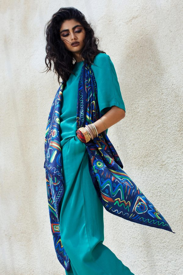 printed silk scarf, blue ethnic square scarf by dikla levsky