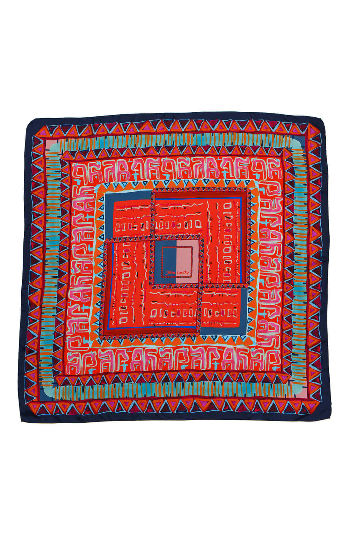 Printed silk scarf, red scarf, Silk Scarf; Dikla Levsky; Printed Scarf; Foulard Soie; Square Scarf; Made In Italy; Luxury Accessories; Designer Scarf; Ethnic Scarf