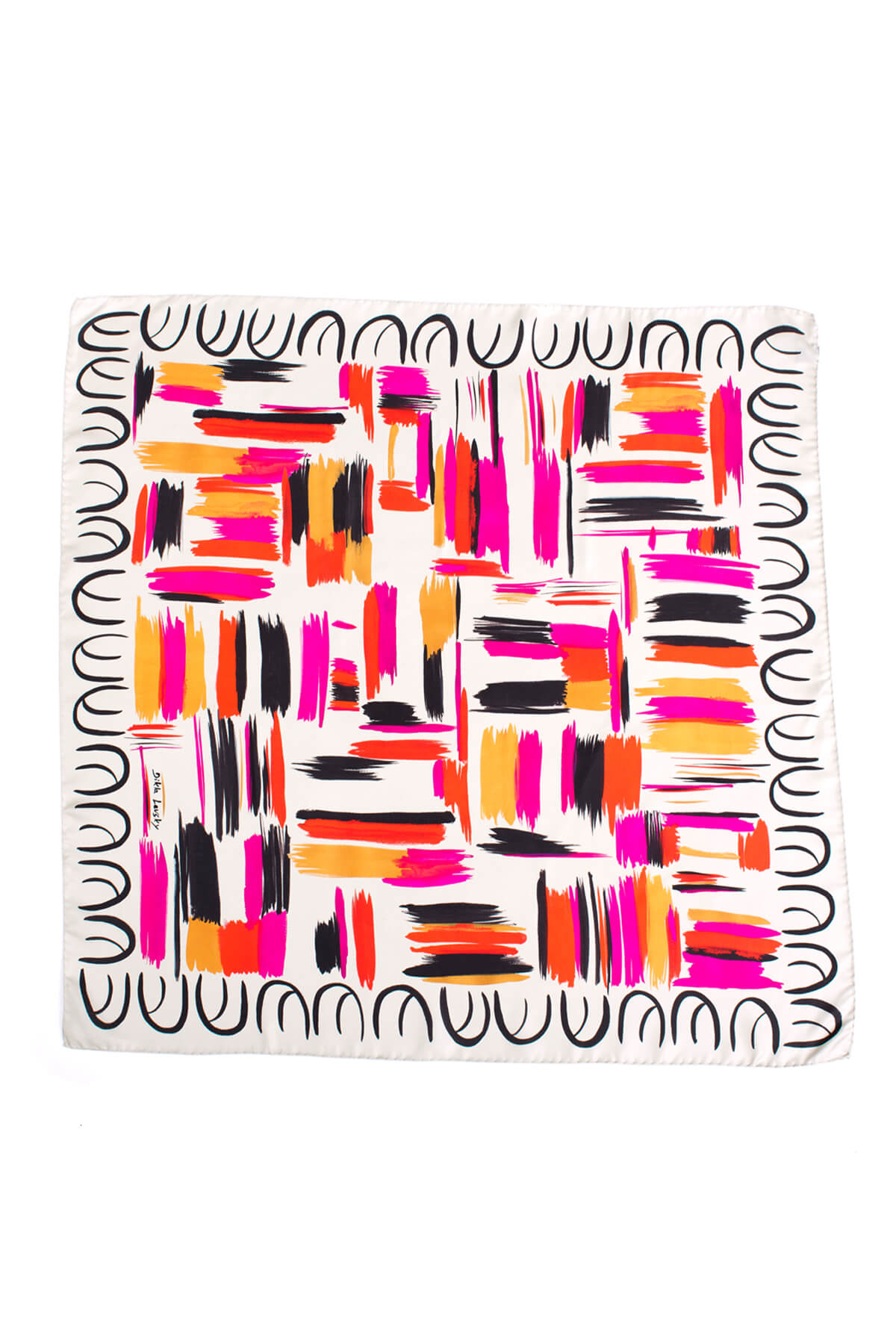 printed scarf, silk scarf. square silk scarf, printed colorful scarf, dikla levsky, luxury scarves, foulard soie, made in italy, ethnic scarf, print and pattern,