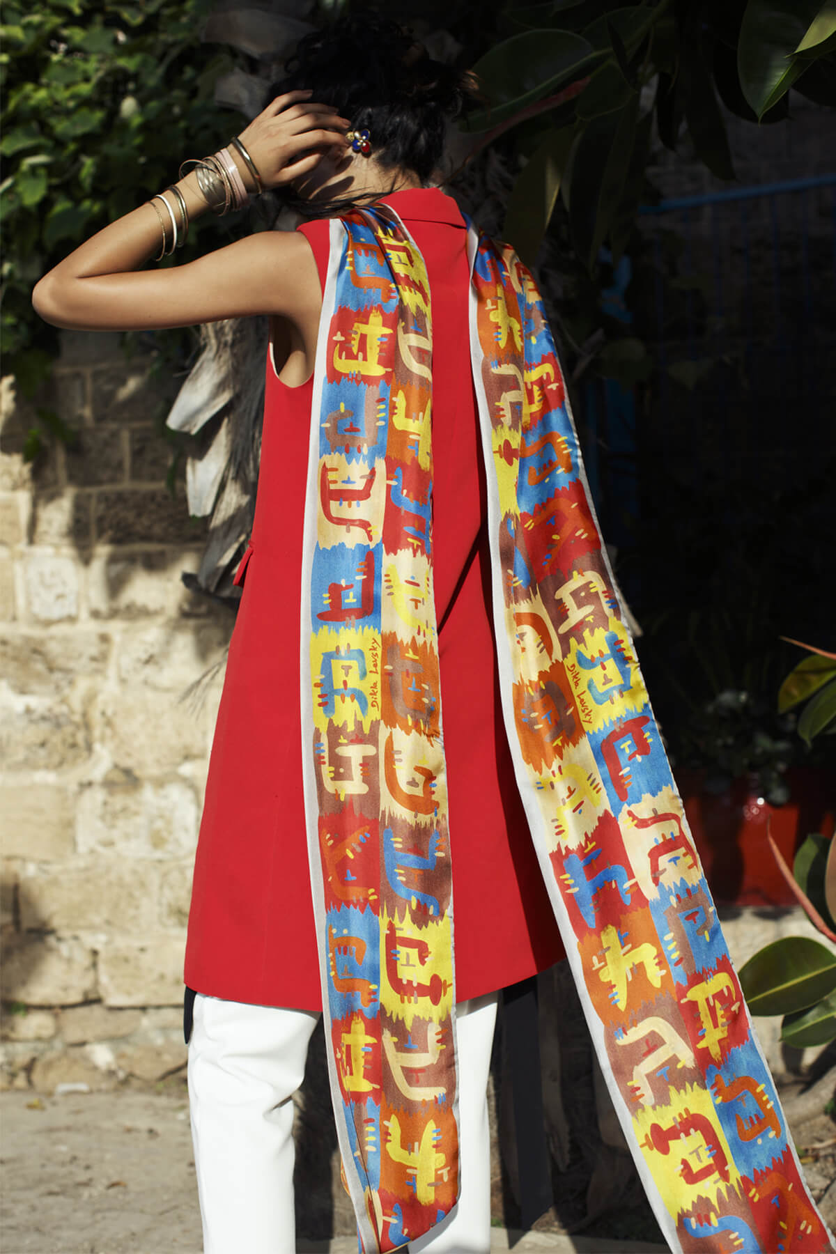 extra long printed twilly, silk scarf by dikla levsky, double sided ethnic scarf
