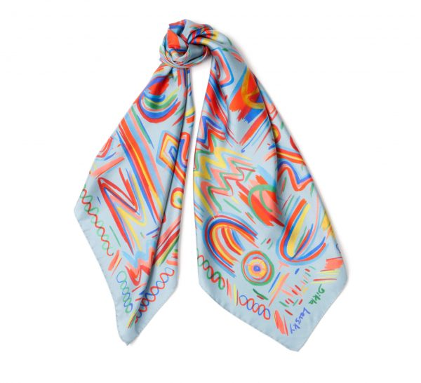 light blue printed silk scarf, square ethnic scarf by dikla levsky