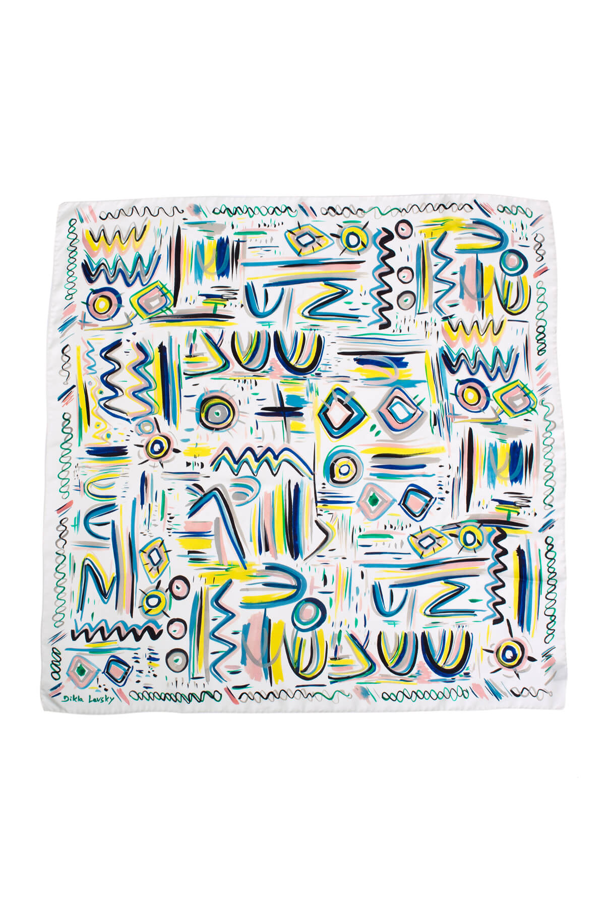printed silk square scarf in white and bright colors by dikla levsky