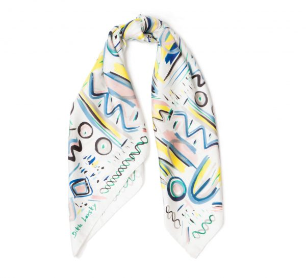 white printed silk square scarf, twill ethnic scarf by dikla levsky, made in italy