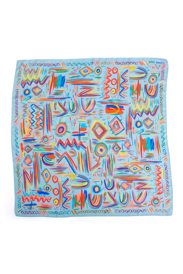 printed scarf, silk twill colorful scarf, designer scarf by dikla levsky, made in italy