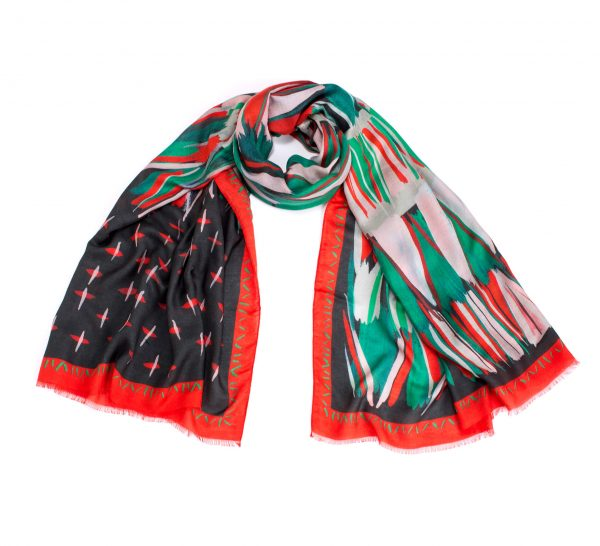 printed shawl, modal and cashmere shawl, dikla levsky, mud cloth scarf, red and green