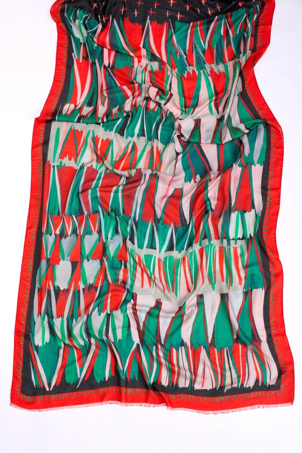 Red printed shawl; Dikla Levsky; Printed Scarf; cashmere shawl; Long Scarf; big scarf; modal and cashmere; huge shawl; Made In Italy; Luxury Accessories; Designer Scarf; Ethnic Scarf; Oblong shawl;
