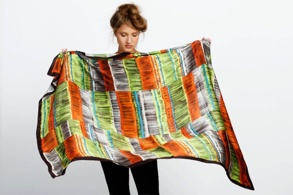 printed scarf, oversized neon stripes printed scarf
