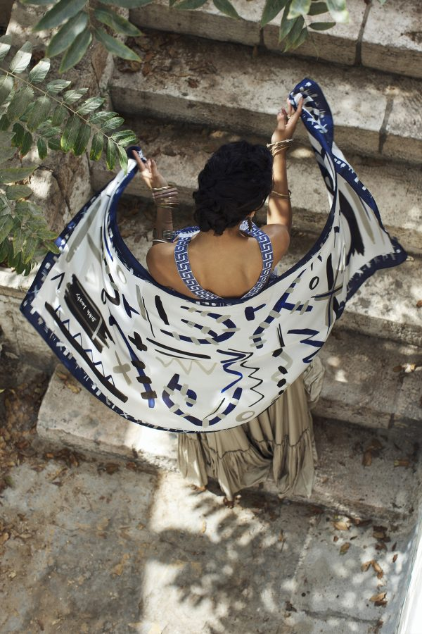 printed scarf, printed white and blue silk shawl, dikla lervsky, modern scarf, print and pattern, luxury scarves, fashion accessories, scarfr addict