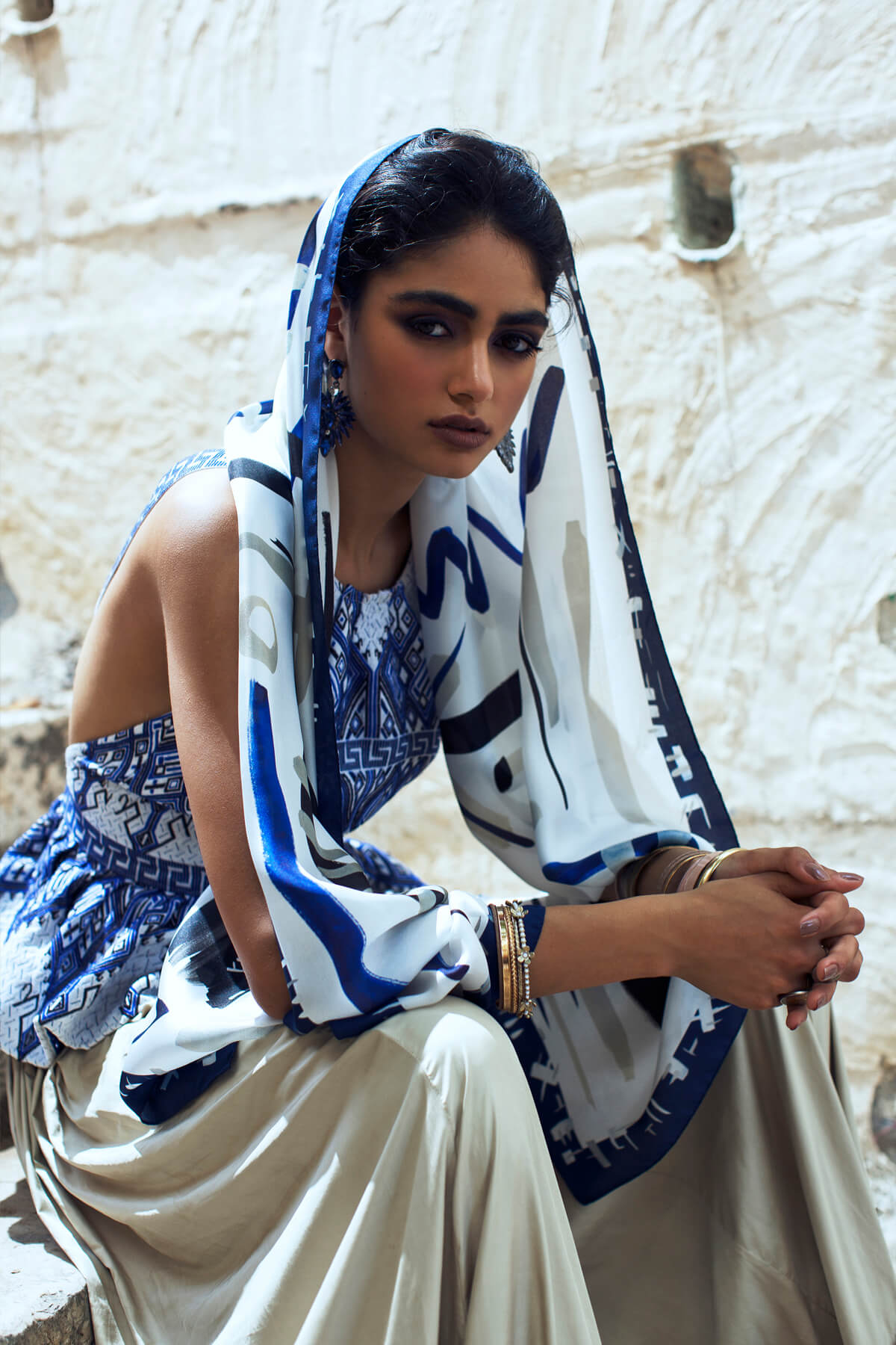 Silk Scarf; Dikla Levsky; Printed Scarf; Foulard Soie; Long Scarf; Made In Italy; Luxury Accessories; Designer Scarf; Ethnic Scarf; Oblong shawl; light silk scarf; blue, indigo scarf, blue and white silk scarf. modern scarf