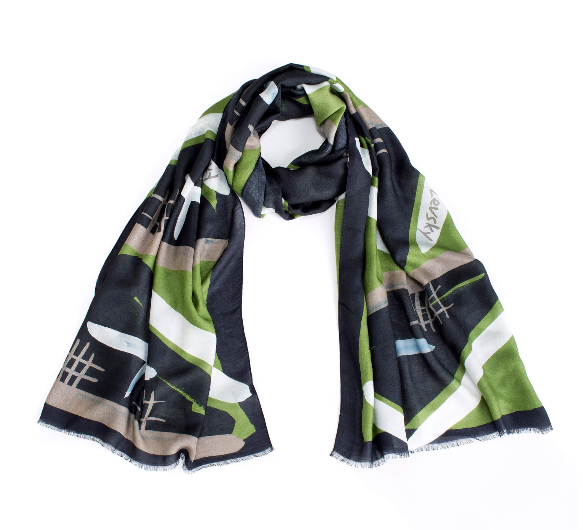 Printed shawl; Dikla Levsky; Printed Scarf; cashemer shawl; Long Scarf; olive scarf; modal and cashmere; Made In Italy; Luxury Accessories; Designer Scarf; Ethnic Scarf; Oblong shawl; light airy scarf; olive and black; gift for her, luxury fashion