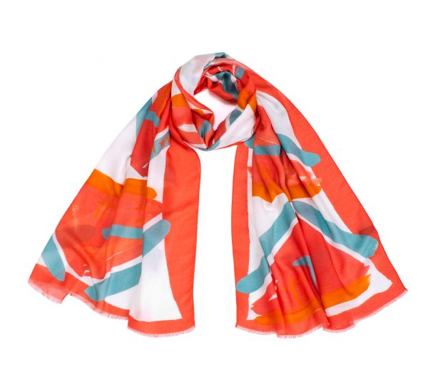 pink shawl, modal and cashmere printed scarf in hot pink, orange, white, by dikla levsky