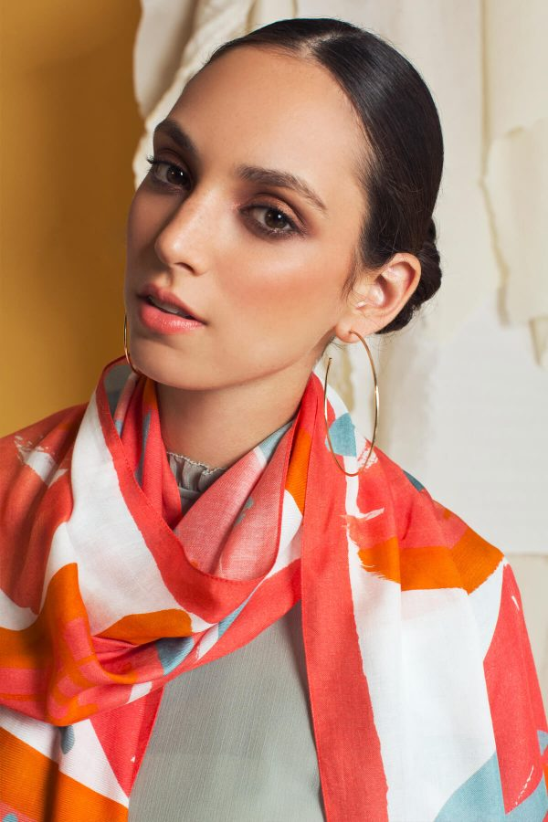 pink shawl, chashmere and modal printed scarf by dikla levsky