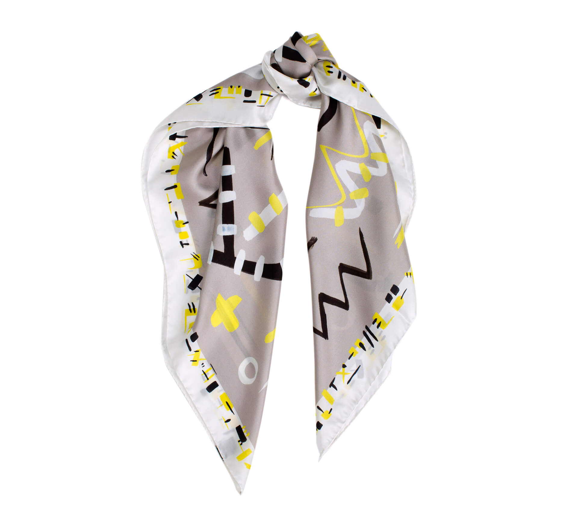 printed silk scarf, square grey modern foulard with yellow, black and white, made in italy
