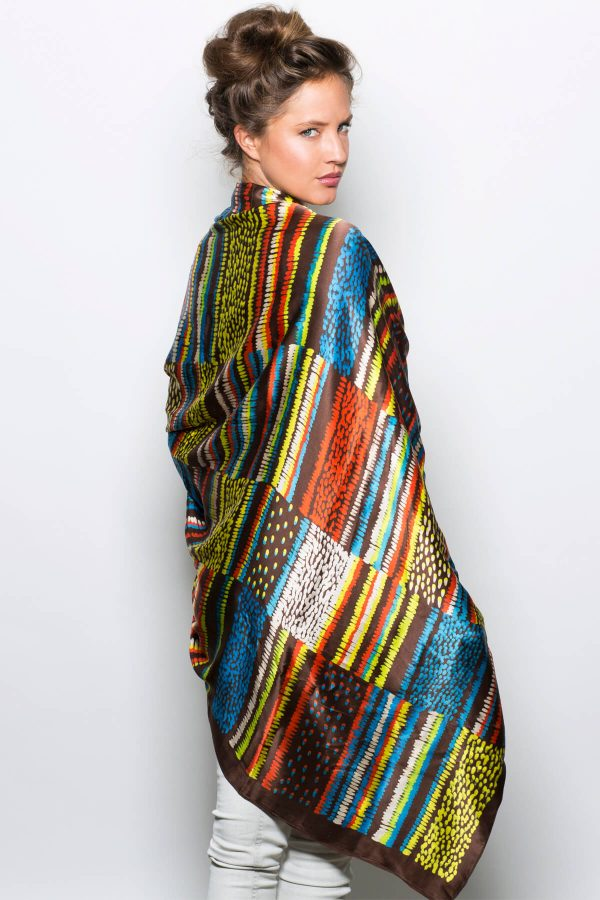 printed silk scarf, oversized scarf in neon colors by dikla levsky