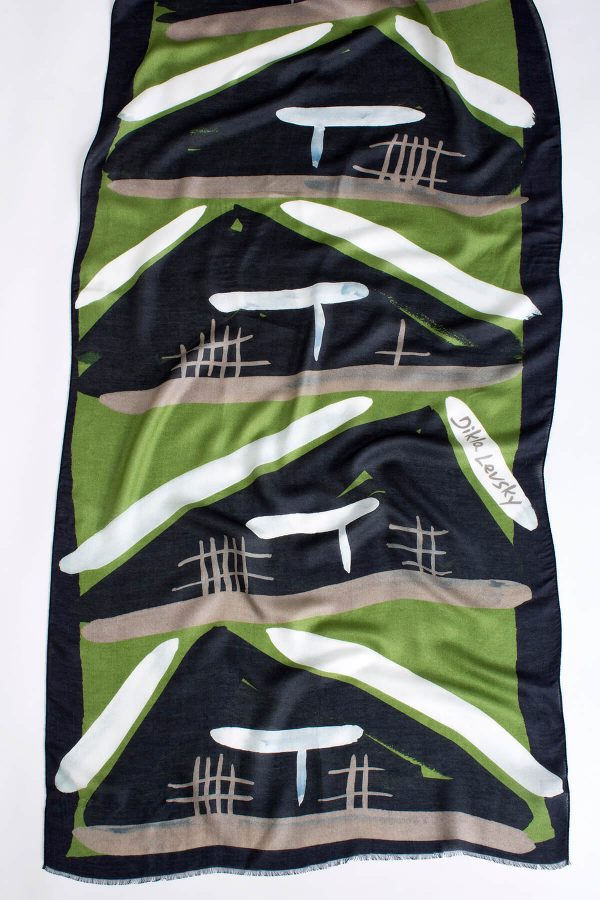 printed shawl, modal and chashmere, olive, black and white, printed scarf by dikla levsky