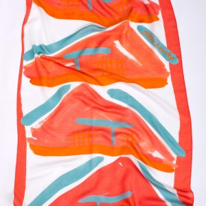 hot pink printed shawl, Dikla Levsky; Printed Scarf; cashemer shawl; Long Scarf; pink scarf; Imodal and cashmere, Made In Italy; Luxury Accessories; Designer Scarf; Ethnic Scarf; Oblong shawl; light airy scarf; modern scarf, gift for her