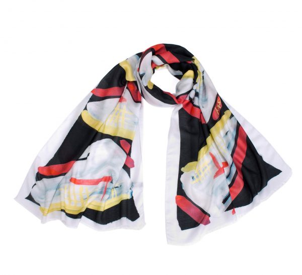 cashmere and modal shawl, printed scarf in white, black, pink, vanilla, designer scarf by dikla levsky, made in italy