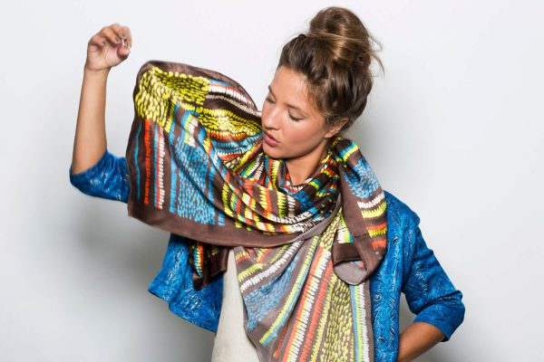 printed scarf, oversized neon dots printed scarf