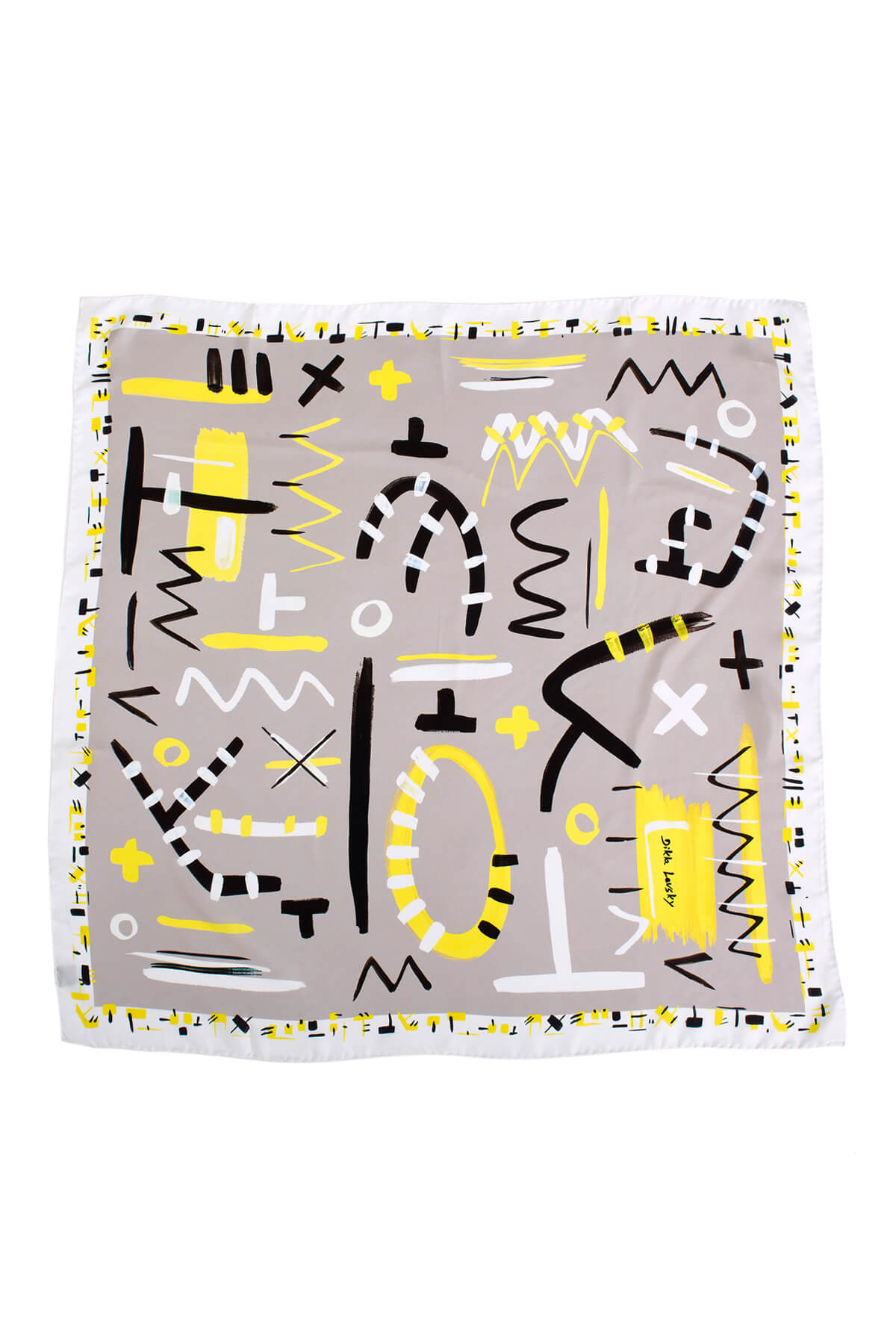 designer scarf in modern grey and yellow print, silk scarf by dikla levsky
