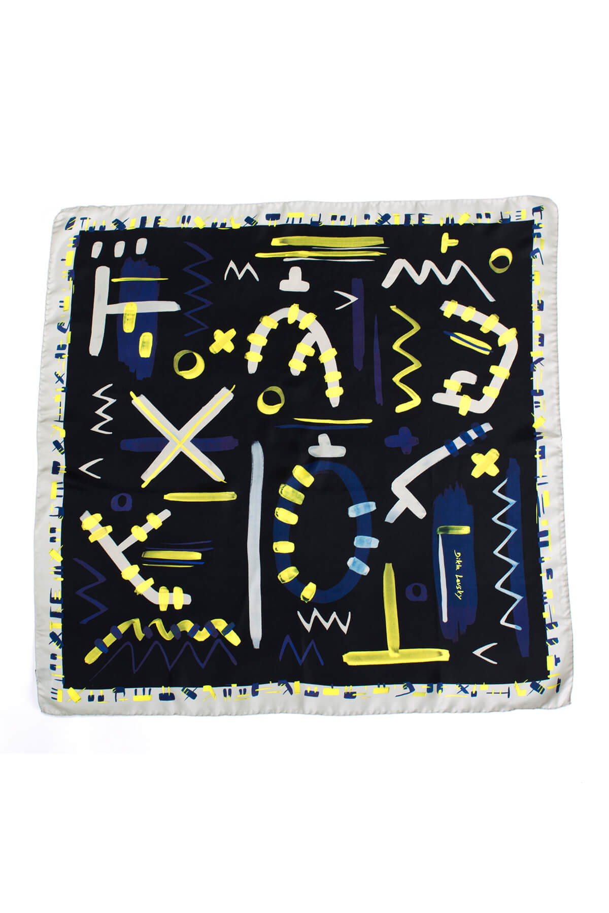 printed scarf, square black and neon yellow silk scarf by dikla levsky