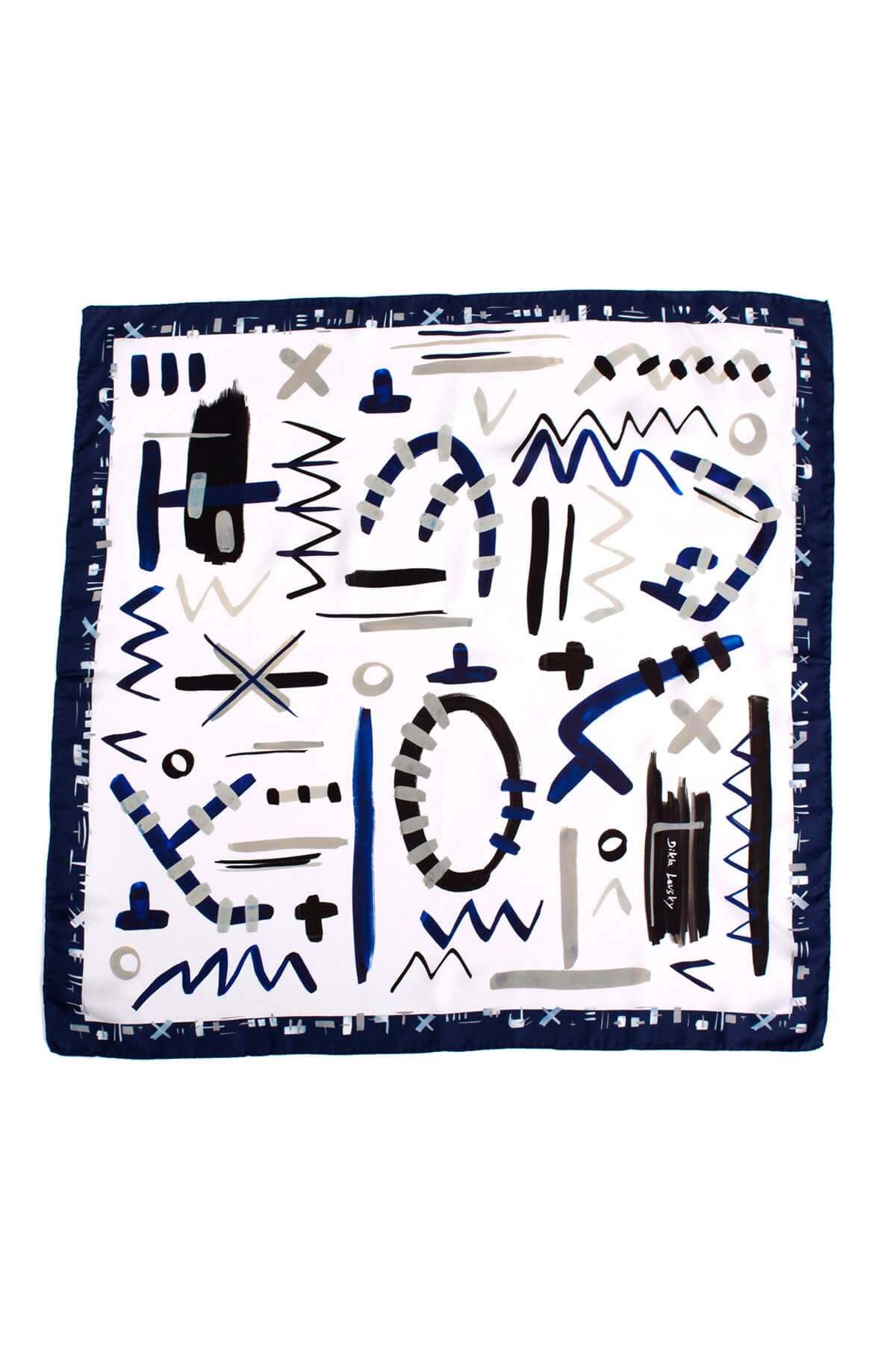 printed square scarf, silk scarf in blue and white, modern scarf by designer dikla levsky