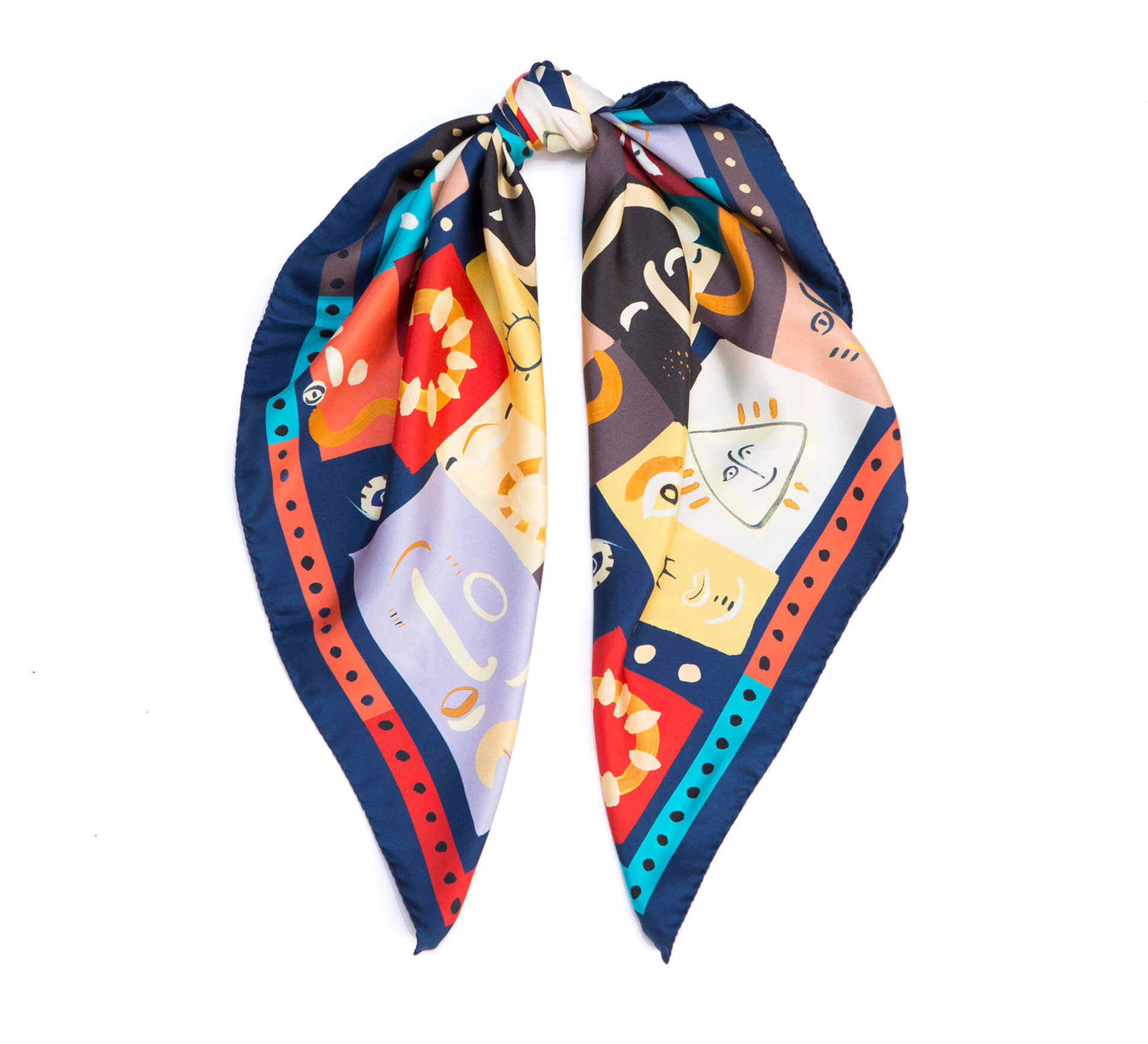 printed silk scarf, dikla levsky, whimsical print, square scarf, red and blue