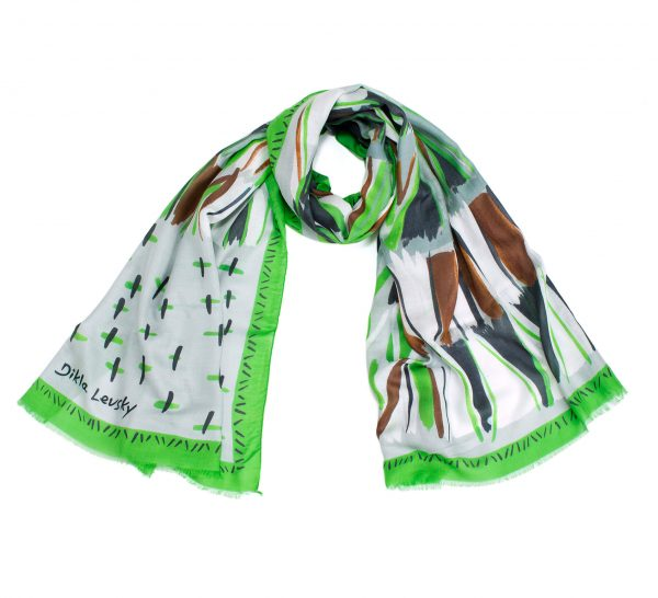 printed shawl, modal and cashmere, vibrant green