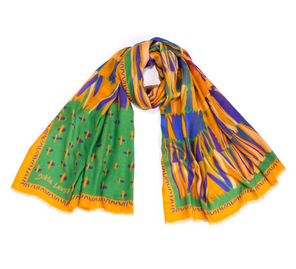 printed shawl, modal and cashmere shawl, dikla levsky