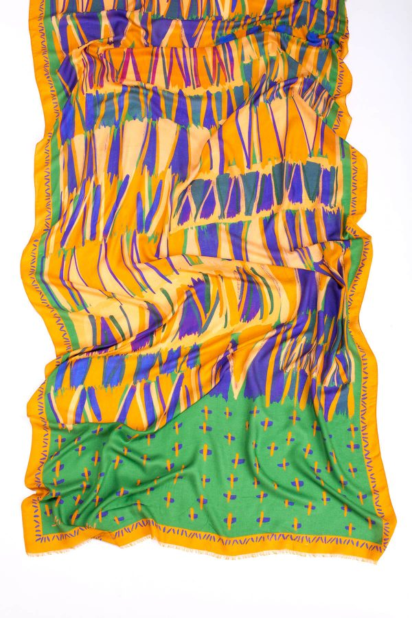 printed shawl, dikla levsky, modal and cashmere shawl in orange and green