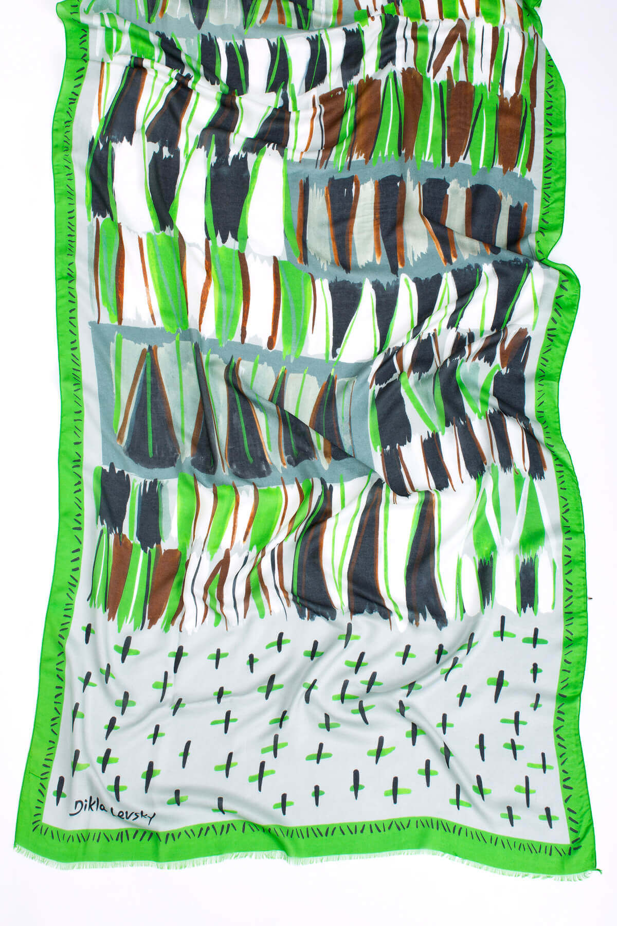 printed shawl, modal and cashmere, vibrant green, dikla levsky, luxury scarves